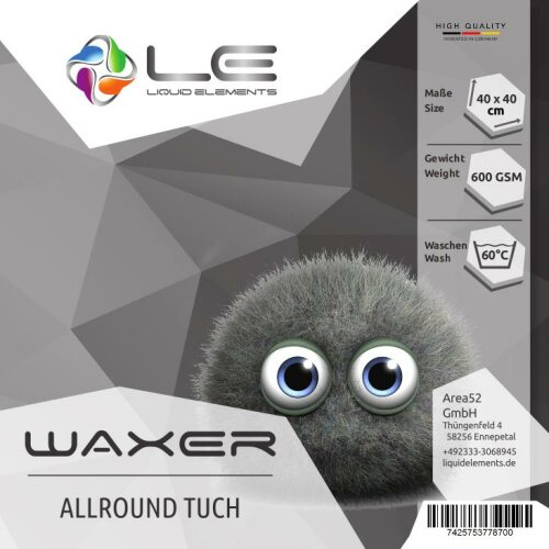 Liquid Elements Waxer Allround-Mikrofasertuch 40x40cm 600GSM